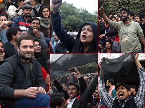Rahul gandhi in jnu,  students showing him black flags