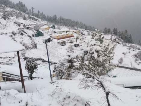 snowfall in mussoorie and dhanaulti.