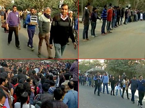 JNU protest, students and teachers formed a human chain