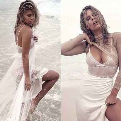 Natasha oakley and Devin brugman pose seductively near sea