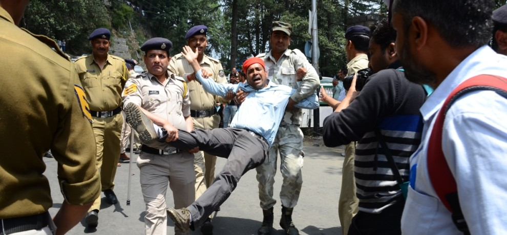 CITU protest at shimla, police arrest CITU leaders