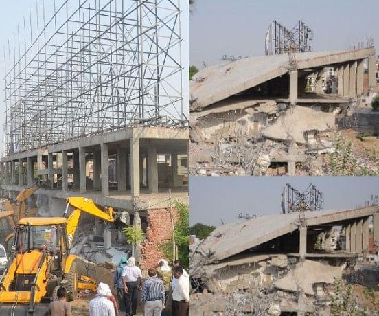 Building demolition in Jiyamau.