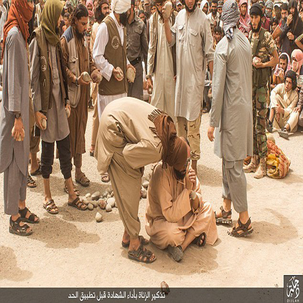ISIS militants savagely stoning four married men to death for 'committing adultery' in Iraq