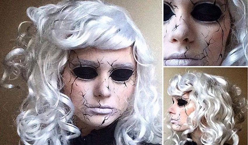 this girl transform herself as horror creature