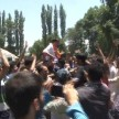 PDP workers celebrate after victory of party chief Mehbooba Mufti