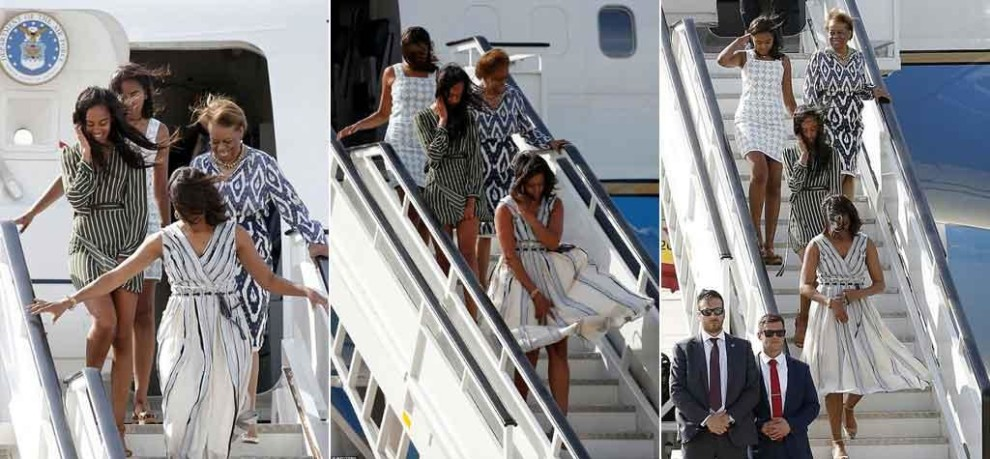 First lady and Obama girls land in windy Madrid faces Marilyn Monroe moment