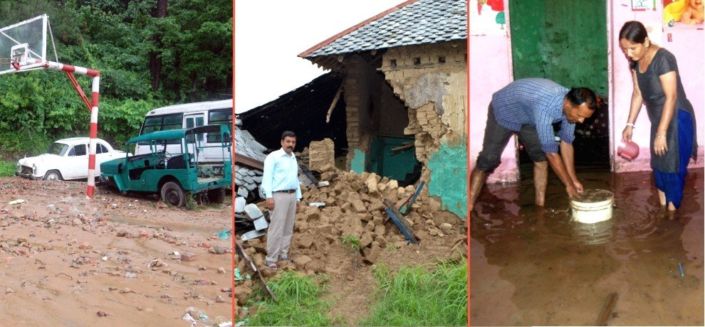 Heavy rainfall in Himachal cause property loss.