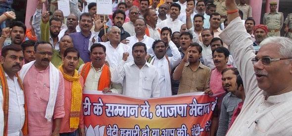 bjp agitated against bsp