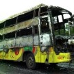 Three killed as bus catches fire
