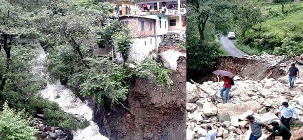 roads washed away in uttarakashi due heavy rain.