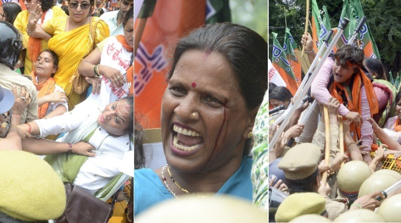 bjp mahila morcha protest in lucknow