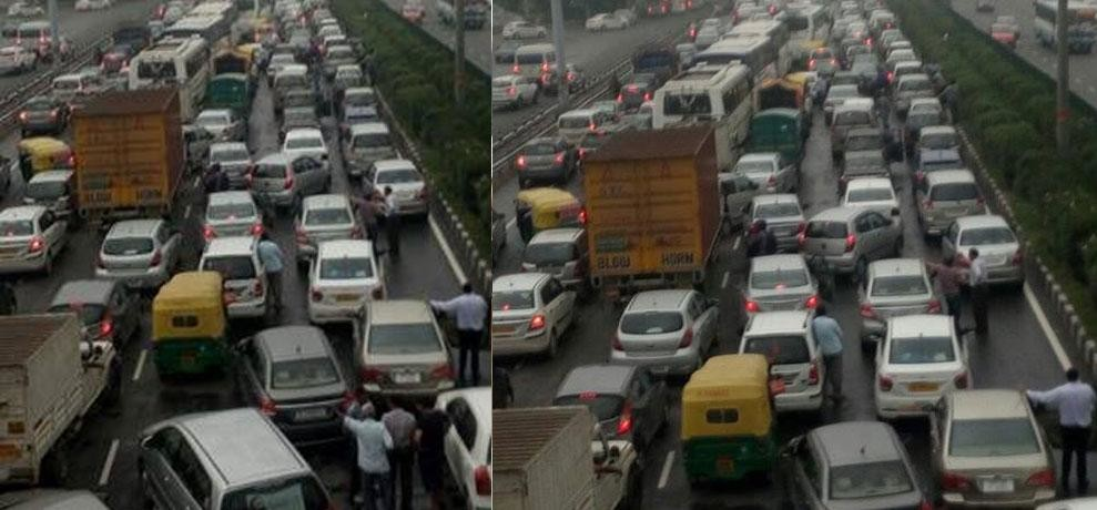 18 hours long traffic jam freezes gurgaon, people stuck for evening to morning