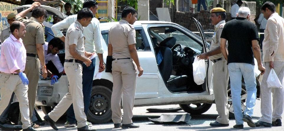Crooks sat in the car wearing a helmet, it was a massive encounter in filmy style