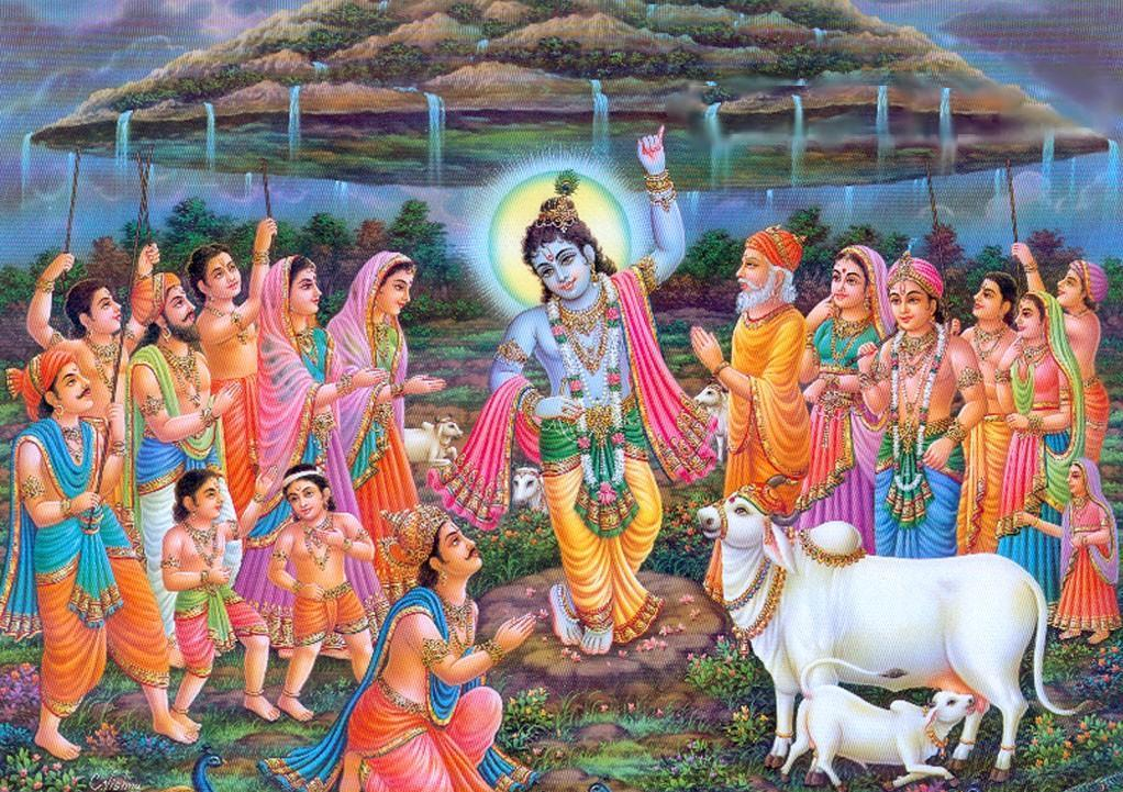 कृष्ण जन्माष्टमी 2020 गोवर्धन पर्वत को अपनी कनिष्ठा उंगली पर उठाए हुए कृष्ण