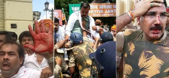 clash between police and bjp   in lucknow