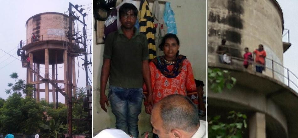 high voltage drama, shahbad man climbed on water tank with wife, three daughters and son