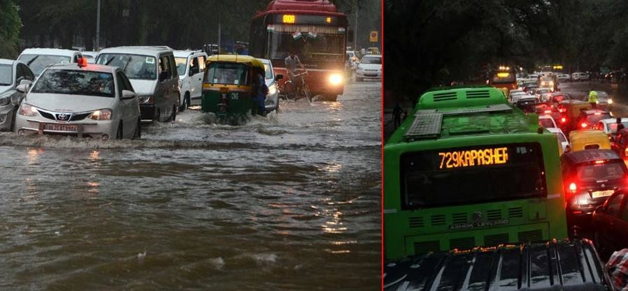 Traffic jam in several parts of ncr after heavy rainfall