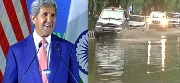 john kerry reaches iit delhi, asks students you must have needed boats to reach here