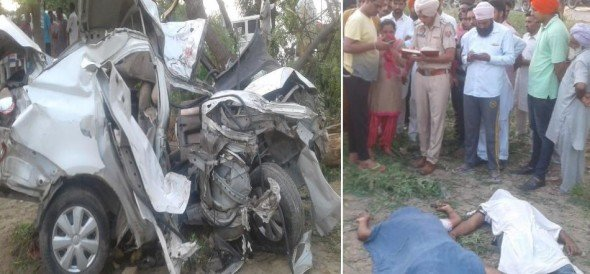 horrible car accident in faridkot, five people of a family died on the spot