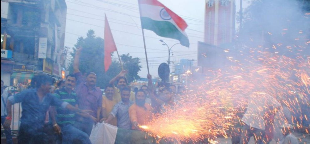 celebration in india after indian army surgical strike