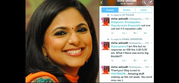 tv anchor richa anirudh do not get help from dial 100, complains on UP police twitter account
