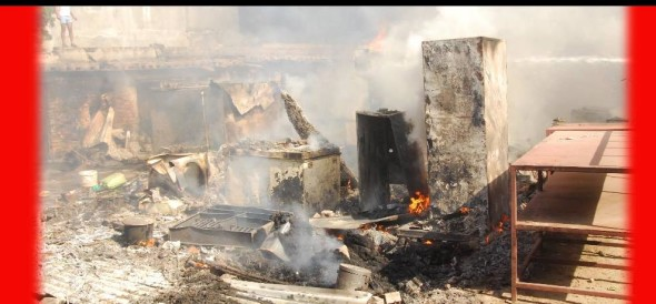 Service station on fire, goods worth Rs. 6 lakh burnt
