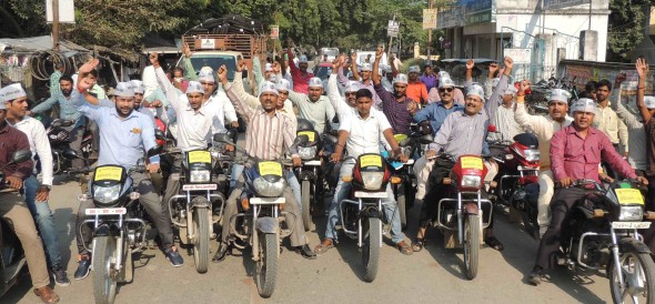 Traders took the bike procession