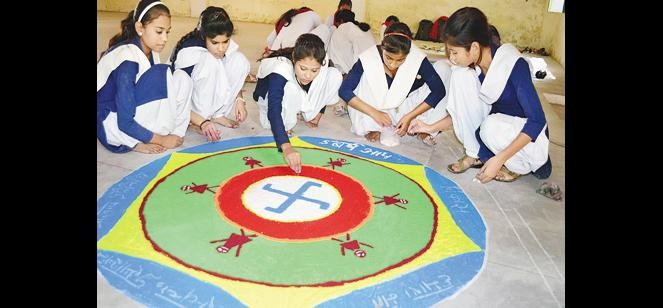 Rangoli decorated for voter awareness