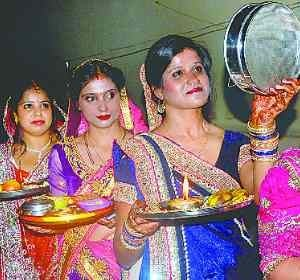 The women kept karwa chauth fast