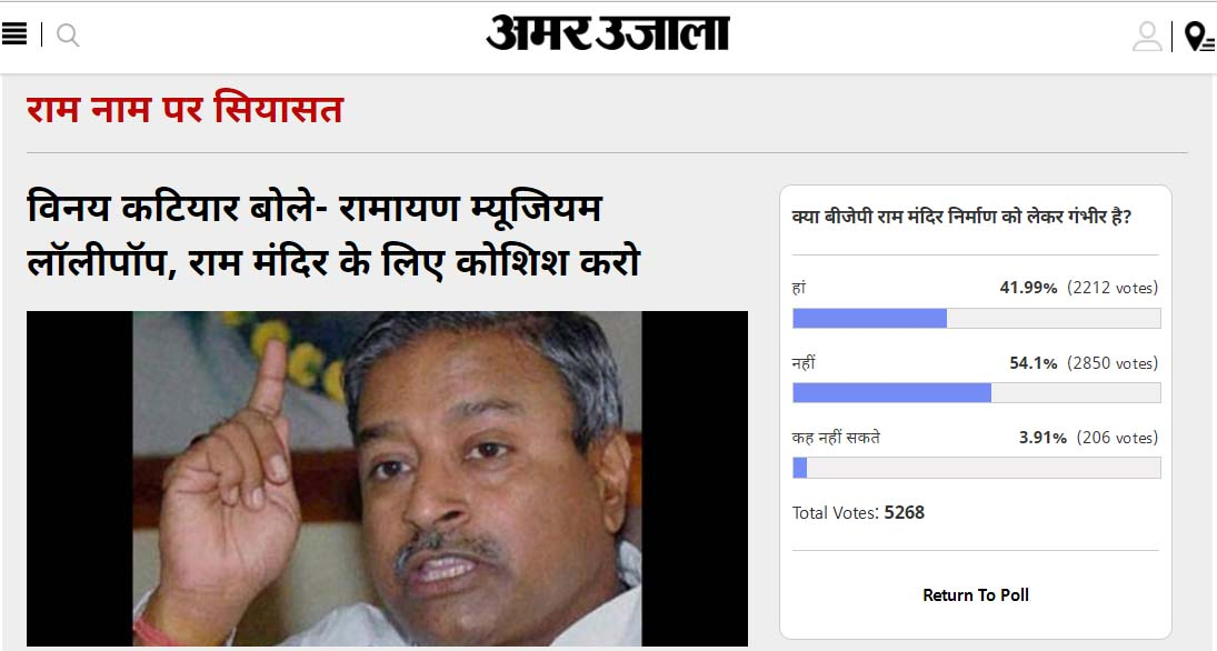 Amar Ujala Poll: BJP is not serious to make Ram mandir in Ayodhaya