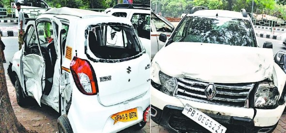 major accident in mohali two cousion brother deatd on the spot