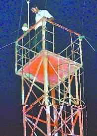 Minda company employee climbed up the tower