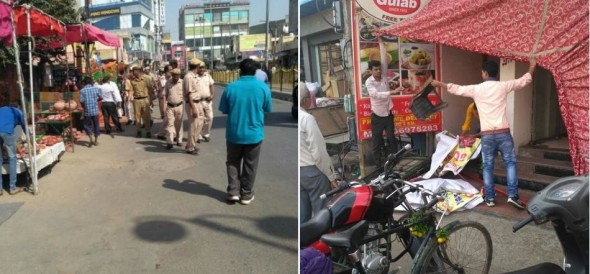 rohtak police in action against encroachment before diwali