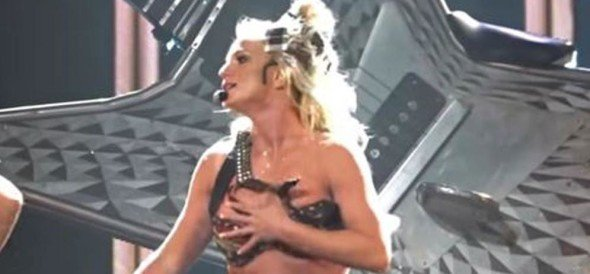 Britney Spears suffered an embarrassing wardrobe malfunction while onstage