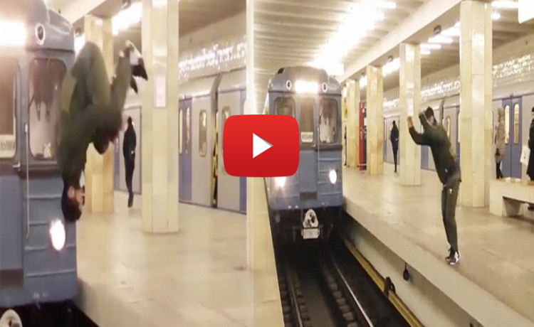 man jump across platform in front of speeding train