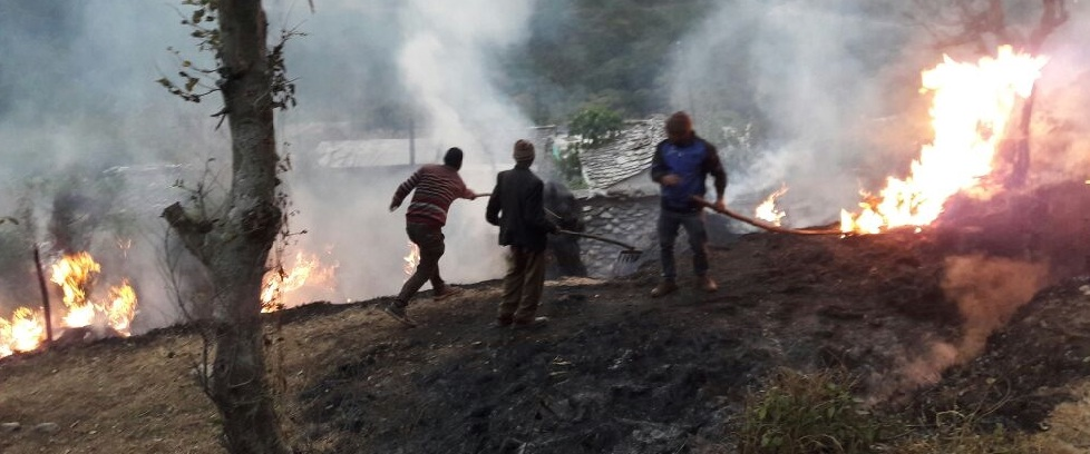 Malli Patli 40 grass fires in the village looted ash