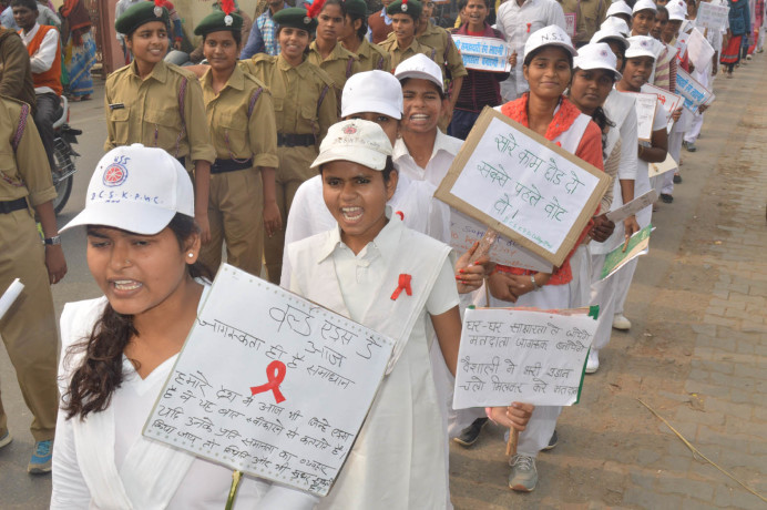 The rally against AIDS information