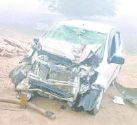 accident, fog, death, friends, car, truck, road, jind