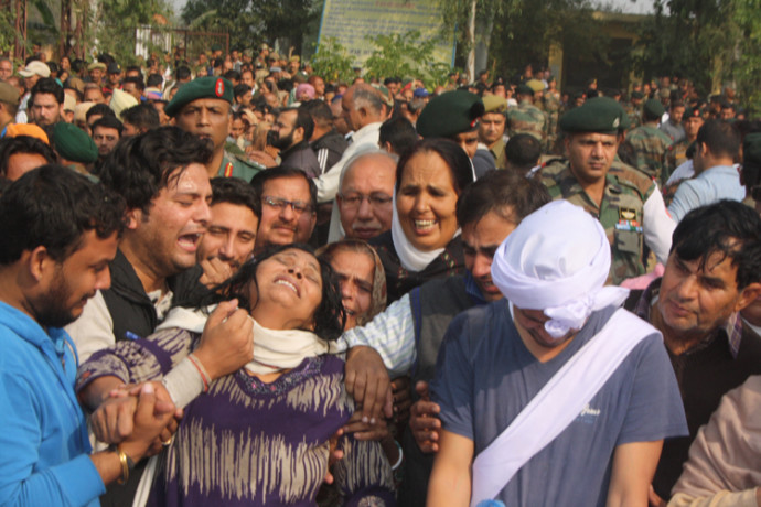The funeral of martyr Major Arvind