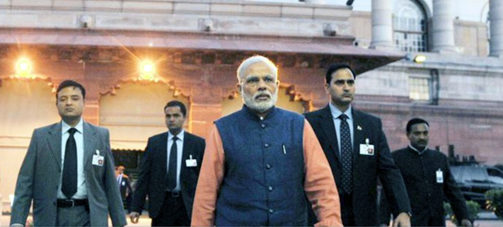 upset prime minister Narendra Modi walks out of presentation
