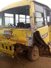 School bus collided with tanker