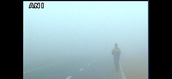 Dense fog blankets the national capital resulting in low visibility