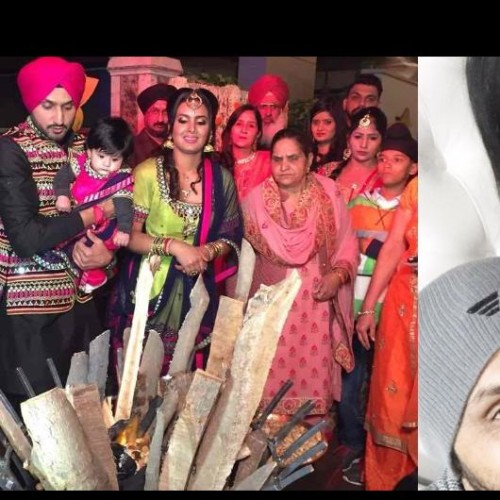 Harbhajan singh and Geeta basra celebrated lohri with daughter Hinaya