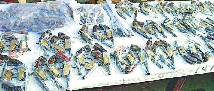Two vehicles recovered huge quantity of arms