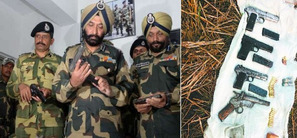 pakistani and chinese weapons found on in indo pak border in amritsar of punjab