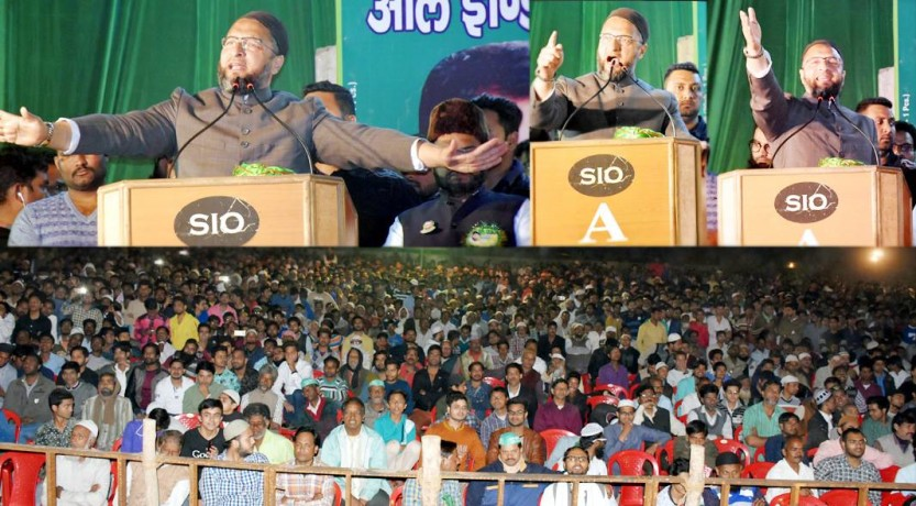 asaduddin owaisi big rally in kanpur, fires on sp-congress