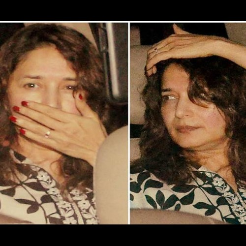 madhuri dixit spotted with her husband and without makeup