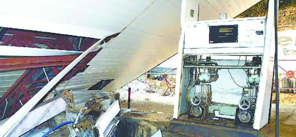 Petrol pumps were damaged by debris during road construction