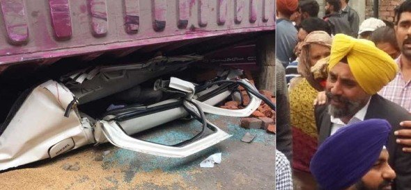 tipper full of wheat fell upon the car and car crashed horribly, 18 years old girl killed