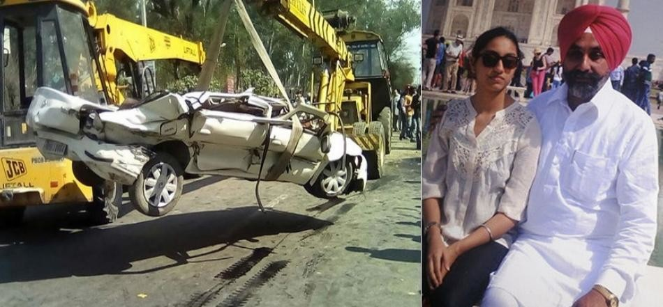 tipper fell upon the car and 18 years old girl crashed badly, accident at jalandhar of punjab